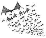 Big group of sketched flying Halloween bats