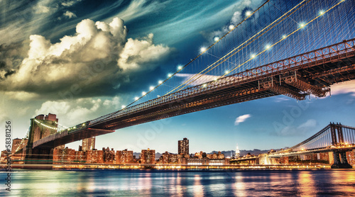 The Brooklyn Bridge Park, New York. Manhattan skyline at summer