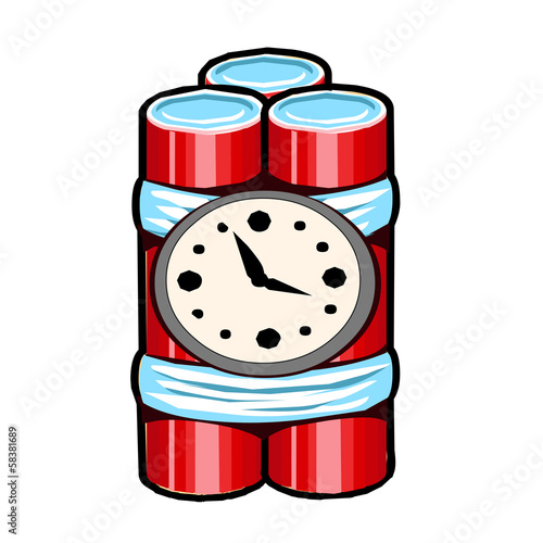 Explosives with clock timer isolated illustration