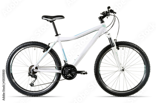 Fotobehang Fietsen weißes Mountainbike vor weißem Hintergrund