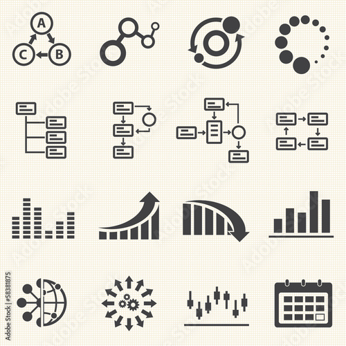 Business Infographic icons with texture background. Vector