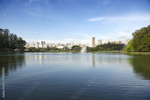 Sao Paulo Brazil City Skyline at Ibirapuera Park