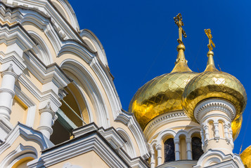 Detail of the Aleksandr Nevsky cathedral in Yalta