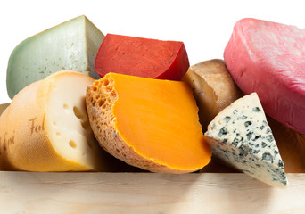 Various types of cheese. composition macro