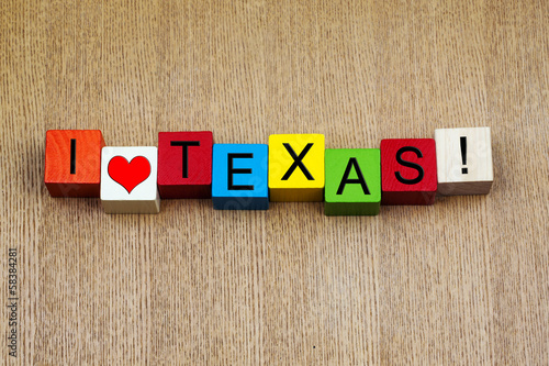 I Love Texas, America - sign series for travel destinations and