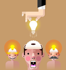 Brain idea light bulb vector
