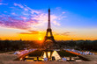 Eiffel tower at sunrise, Paris. - 58384860
