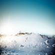 Leinwandbild Motiv Avalanche in mountains. Real close-up photograph