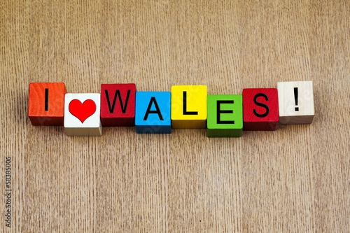 I Love Wales - sign series for travel and countries