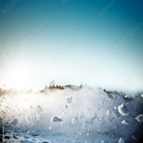 Avalanche in mountains. Real close-up photograph