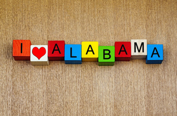 I Love Alabama, USA states - sign series for travel
