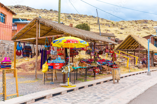 Souvenir market near towers in Sillustani, Peru,South America