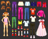 figure of a girl and a set of clothes, shoes and hairstyles