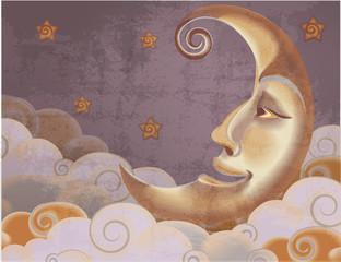 Retro style half moon, clouds and stars illustration