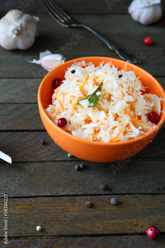 healthy winter salad with sauerkraut