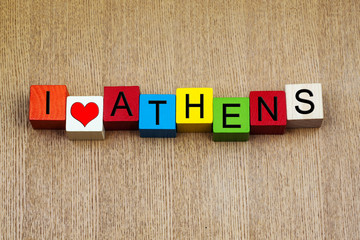 I Love Athens, Greece - sign series for travel