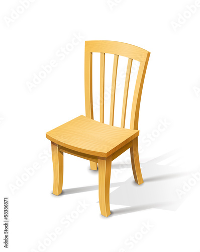 Wooden chair. Vector illustration isolated on white background