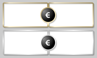 silver and golden text boxes with euro sign