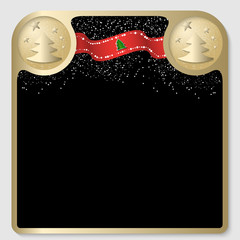 golden text frame with a Christmas theme