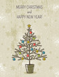 beige background with christmas tree, vector