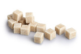 Cane sugar cubes on a white background
