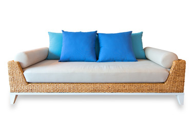Rattan sofa  isolated, with clipping path