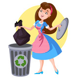 A woman in an apron throws trash