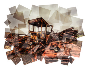 scrap metal collage