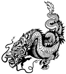 dragon black white