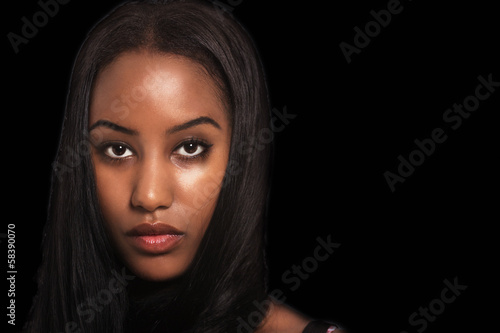 Woman expression, face portrait dark background