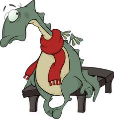 Sad green dragon cartoon