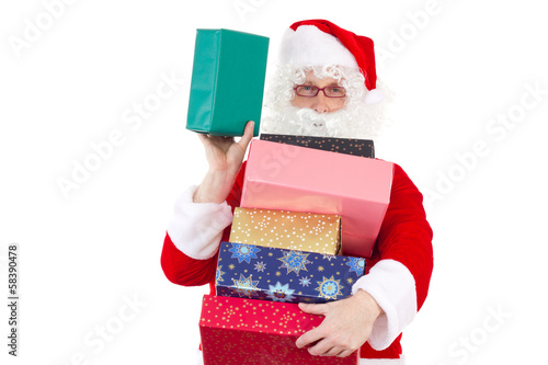 Santa Claus spreading lot of gifts to nice children