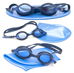 collection swimming caps and glasses