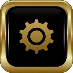 Black gold settings button.