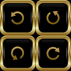Set of the black gold return buttons.