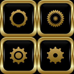 Black gold settings buttons.