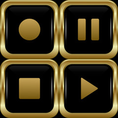 Set of the main black gold player buttons.