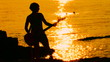 Guitarist playing rock at sunset. Time lapse