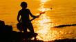 Guitarist playing rock at sunset. Time lapse