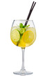 Alcohol cocktail with fresh mint and fruits isolated