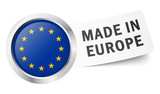 "Button mit Fahne "" MADE IN EUROPE """