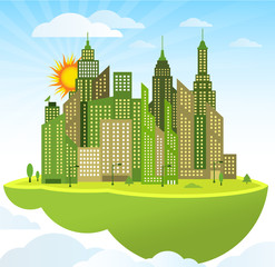 Flying island (modern city)