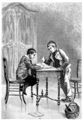 2 Boys studying - 2 Garçons studieux - 19th century