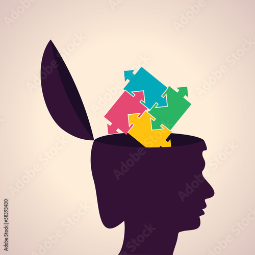 Illustration of thinking concept-Human head with puzzle pieces