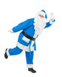 Funny blue santa waves hand