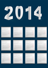 Dark Blue Calendar made in paper cuted style