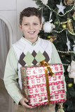Young boy receives a huge Christmas gift