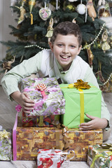 Boy is excited with Christmas gift