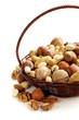 Assortment of different nuts (peanuts, hazelnuts)