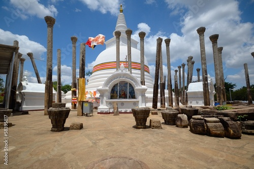 Ancient Thuparama Dagoba with pillars, Anuradhapura, Sri Lanka